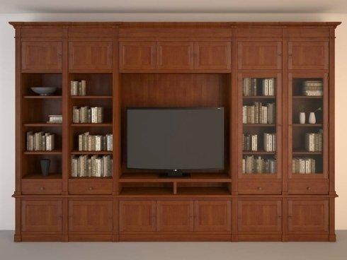 progetto render parete su misura con vano tv