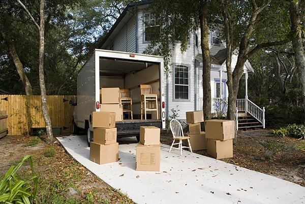 moving van with boxes