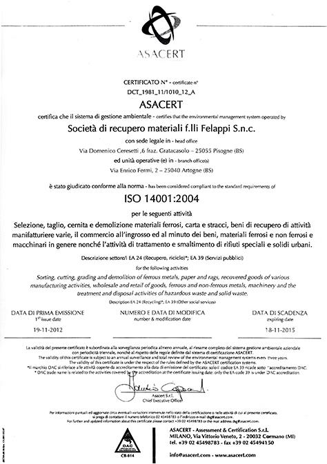 certificazione ISO 14001:2004