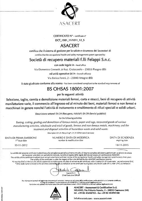 certificazione ISO 18001:2007