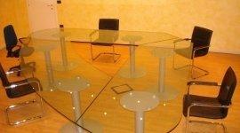 vetro curvato, vetro lavorato, tavolo in vetro