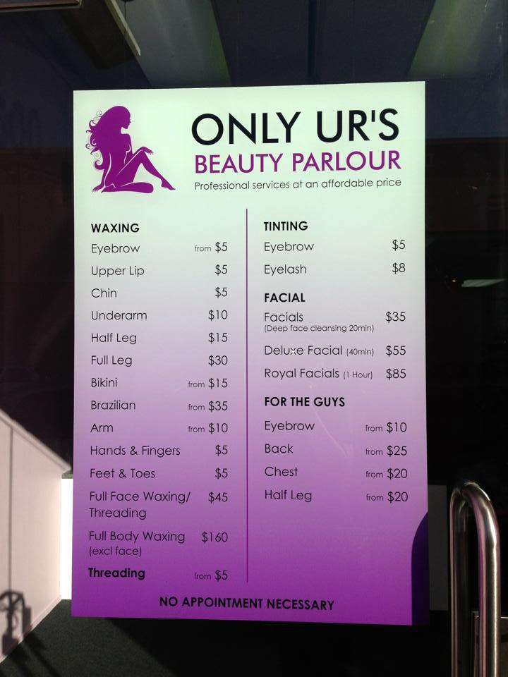 Rate list at Peachy beauty parlour in Dunedin