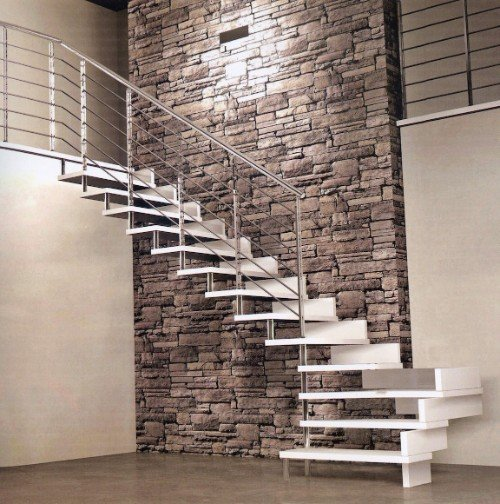 scala da interno in legno e acciaio