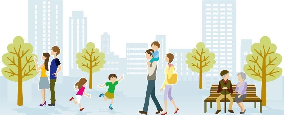 illustrazione di un parco con diverse persone