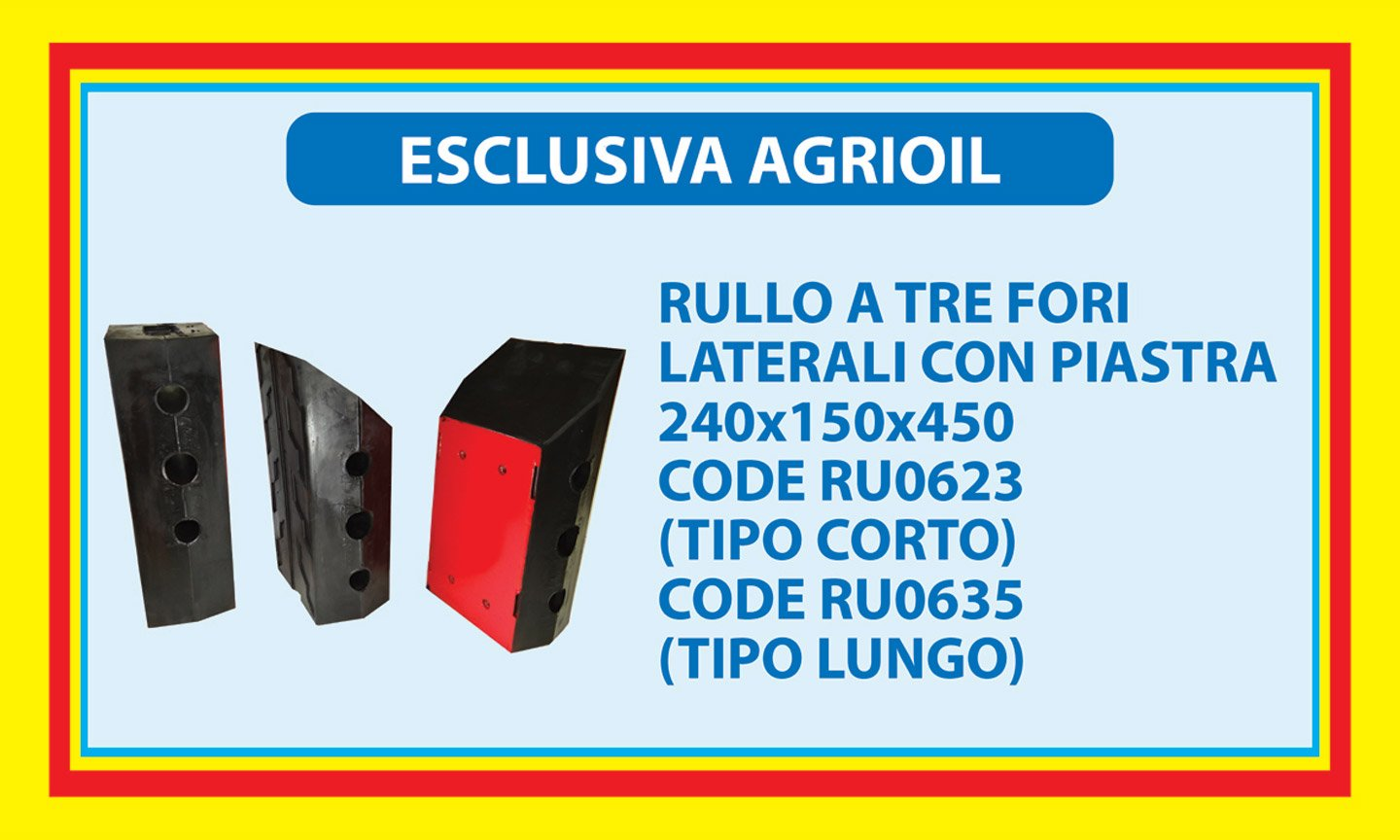 Esclusively from AGRIOIL - roll with three lateral holes with plate