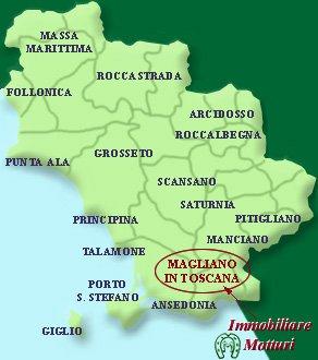 Mappa della Toscana con Magliano in Toscana in evidenza