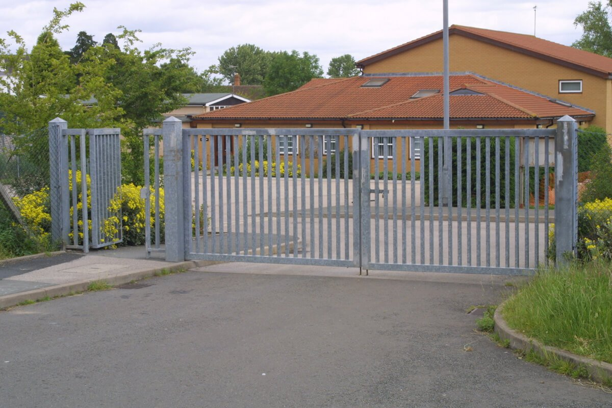 white commercial gate