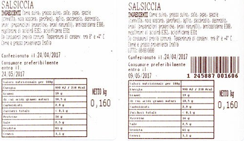 un'etichetta con scritto salsiccia e altro