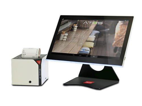 un monitor con scritto Atos
