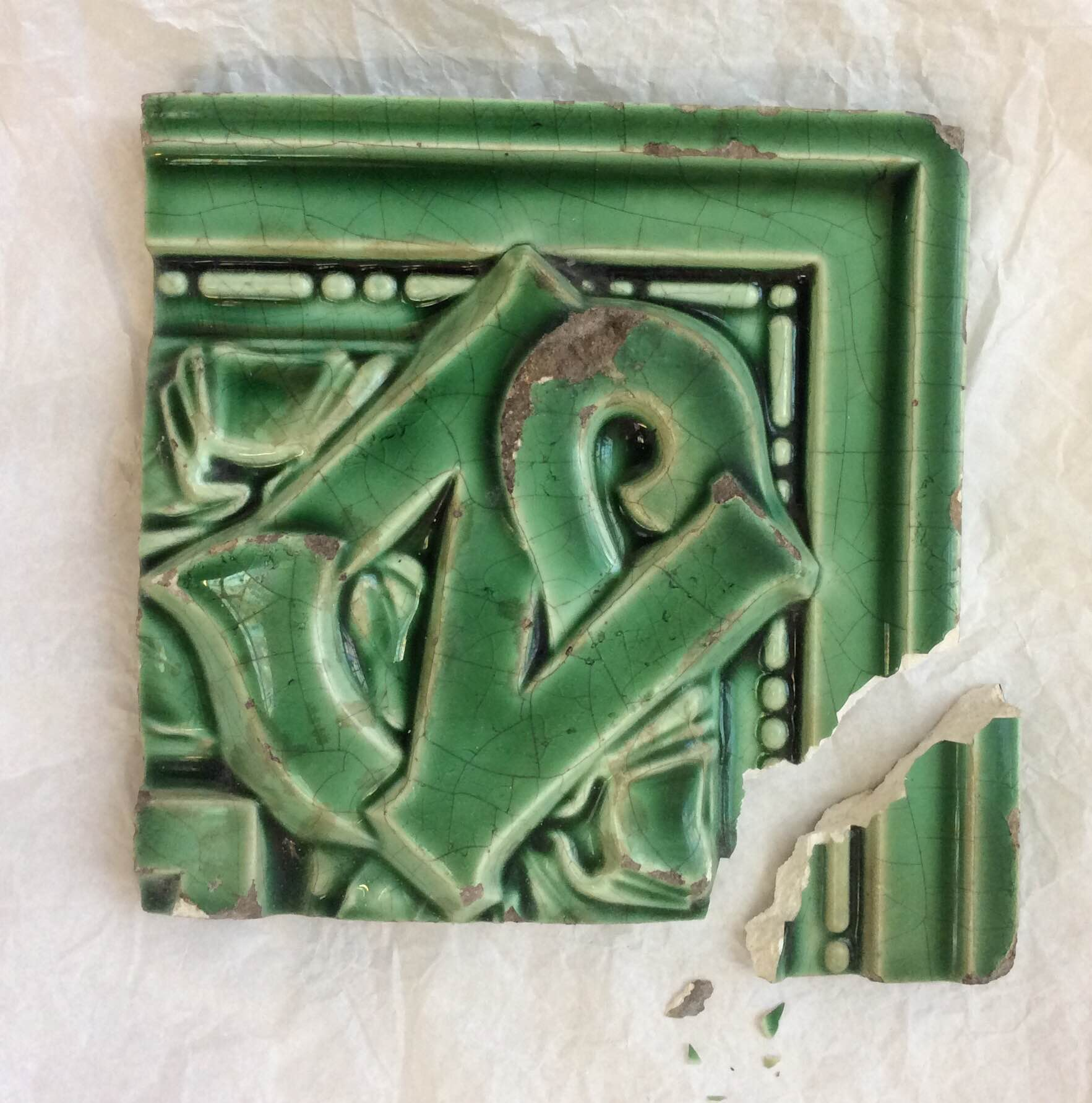 Earthenware Tile From Paris Metro