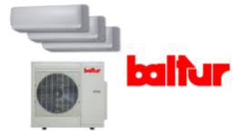 tre split per aria condizionata, motore esterno del condizionatore, insegna Baltur