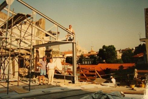 Una storica foto durante un cantiere