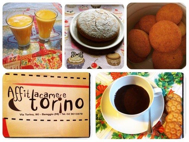 torta, frutta, caffè e succhi
