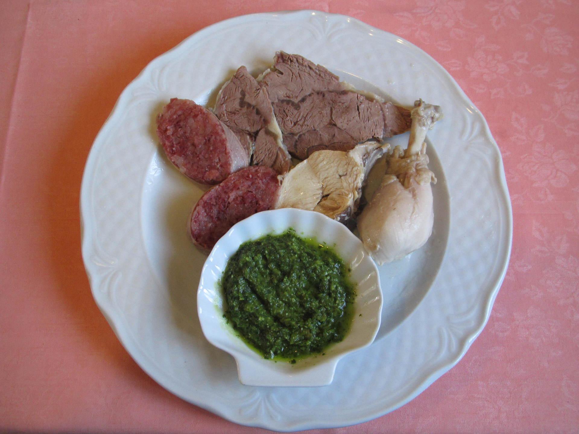coniglio e rollet di carne con salsa verde