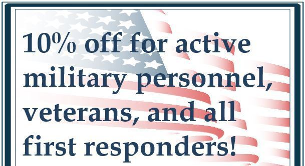 Charlmont Restaurant 10% military, veterans, and first responder discount