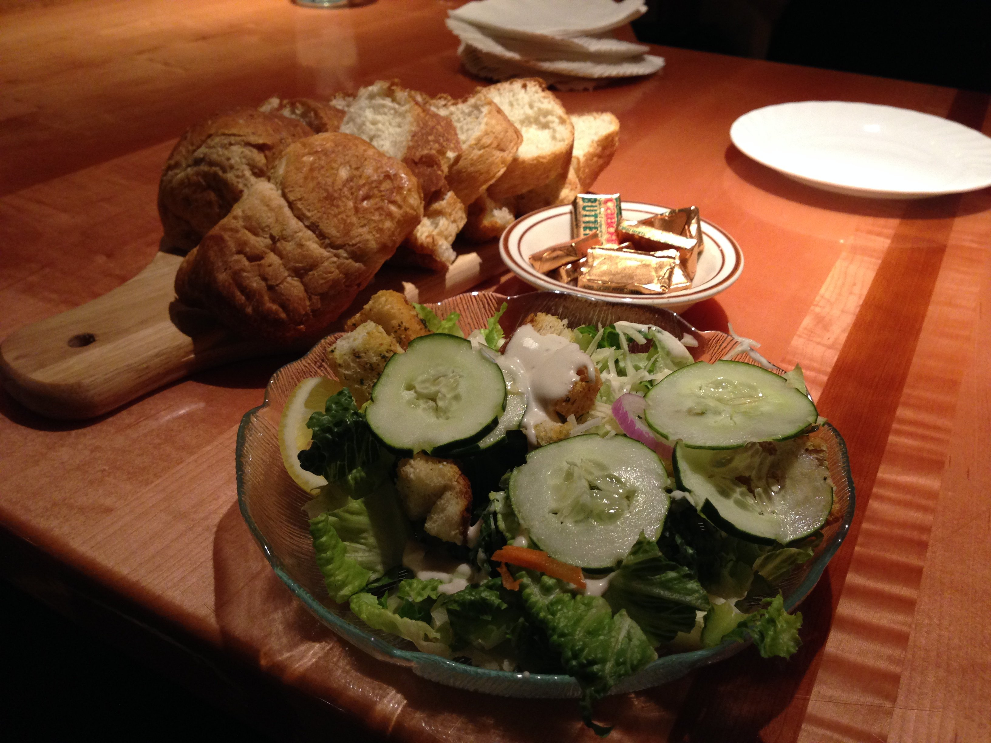 Charlmont Restaurant homemade bread and salad to go with your entree