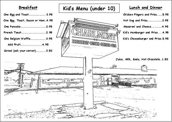 Charlmont Restaurant Kid's Menu