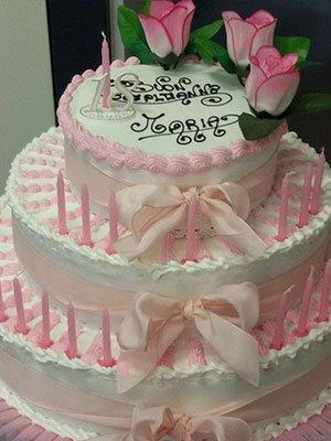torta piu piani di buon compleanno a Maria