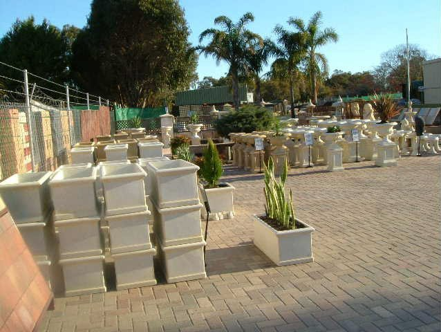 stone planter pots in various sizes