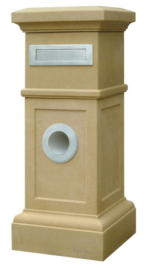 stone letterbox with hole for paper delivery