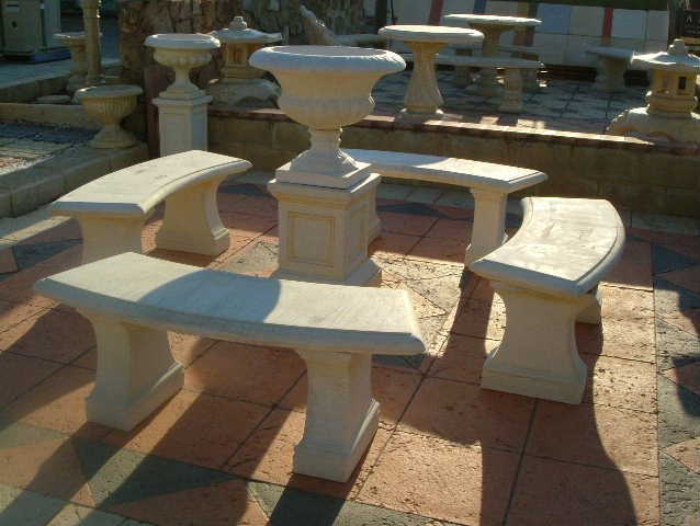 stone garden benches and water feature