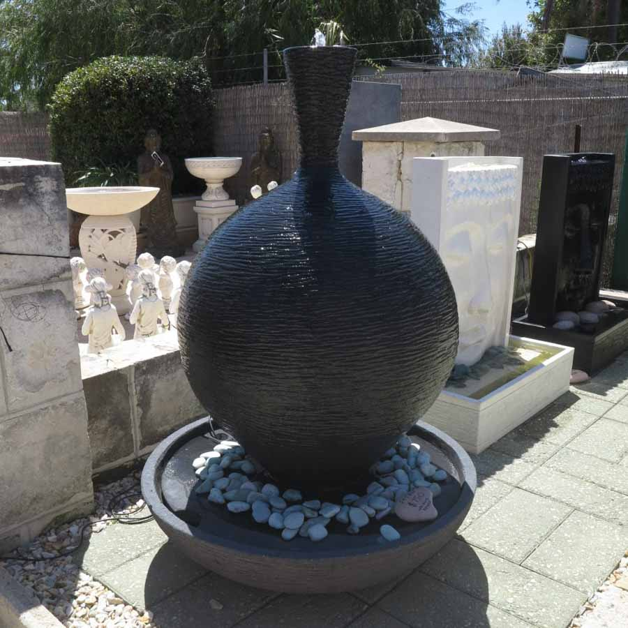 beautiful black stone waterfeature