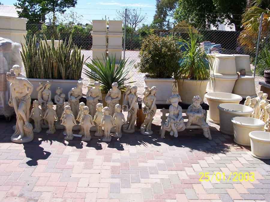 variety of garden statues