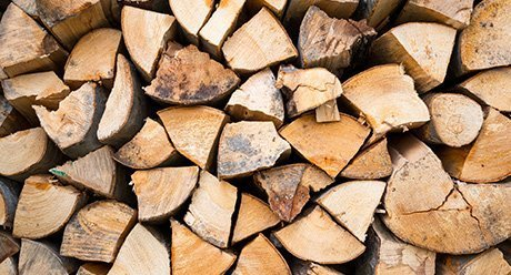 spil firewood in a pile