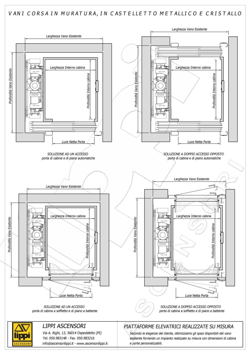 Schede tecniche for Ascensore dimensioni