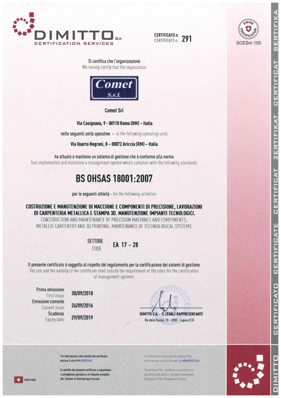 certificazione BS OHSAS