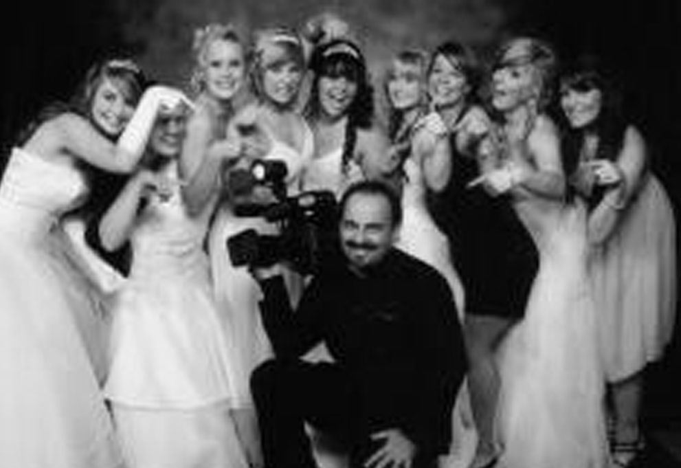 Debutante ball video producer with group of girls in Melbourne hall
