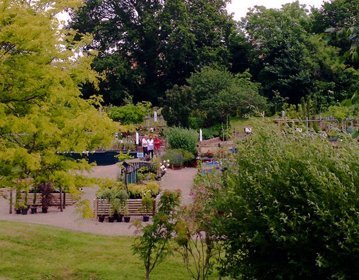 well stocked public gardens with visitors
