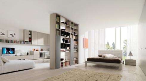 libreria, letto matrimoniale, angolo soggiorno