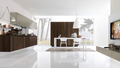 cucina con mobili in legno scuro, cucina con pensili begie, pensili begie per cucina