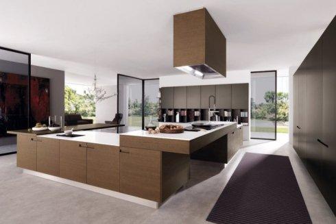cucina in legno, cucina con piano di lavoro bianco, cucina ad isola