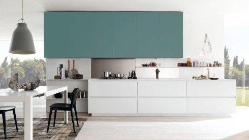 cucina con pensili azzurri, cucina moderna, installazione cucine