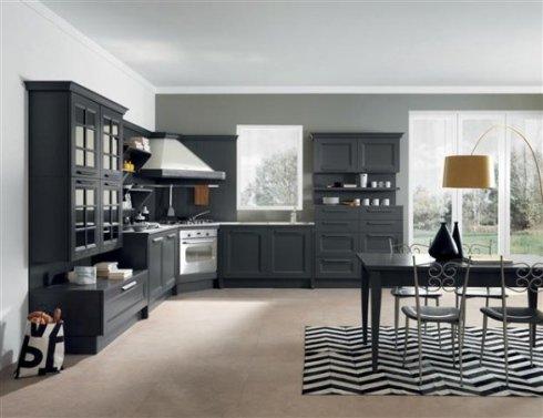 cucina color antracite, tavolo da pranzo nero, cappa angolare