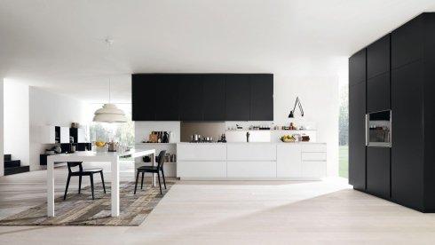 cucina nera e bianca, pensili neri per cucina, mobili alti per cucina