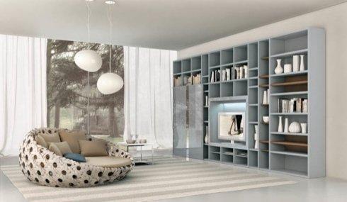 soggiorno, libreria, divano design
