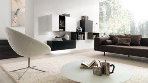 mobili per salotto, arredamento salotto, poltrona in pelle bianca