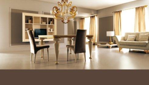 sofà, tavolo da pranzo, lampadario moderno