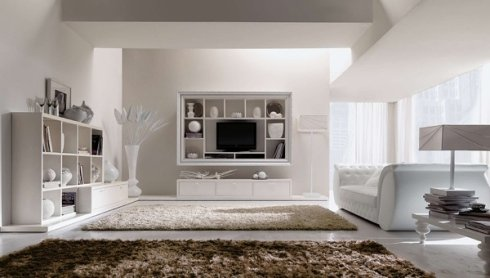 divano bianco in pelle, tappeti per soggiorno, scaffalature bianche