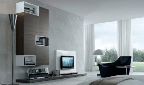 piantana di design, pensile soggiorno legno e bianco, poltrona di design