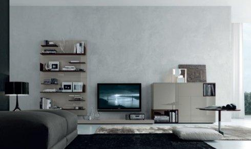 mobili laccati , lampada nera da tavolo, soluzione per soggiorno