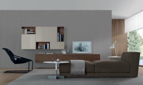 soluzione per il soggiorno, arredamento salotto, divano
