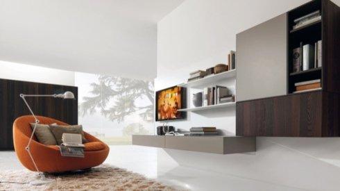 poltrona design arancione, pensili per soggiorno tortora e legno, mensole bianche