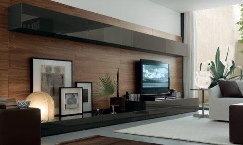 mobili per soggiorno laccati neri, soluzione per soggiorno, soluzione per salotto