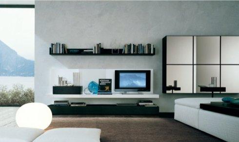 pensili soggiorno con ante a specchio, arredamento per soggiorno, mobili per soggiorno