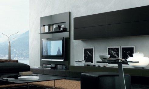 mobili neri per salotto, mobili neri per soggiorno, soggiorno