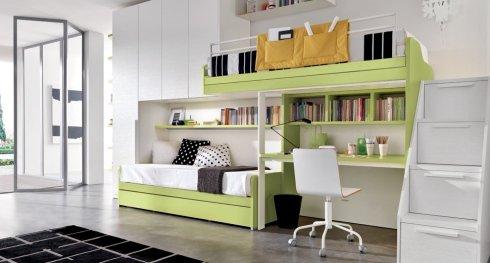 cameretta con letto a soppalco, cameretta verde acido, cameretta con due letti singoli
